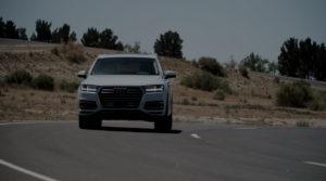 Audi car on road turning left