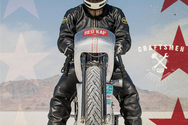 Matt Harris from 40 Cal Customs at Bonneville Salt Flats for Red Kap campaign