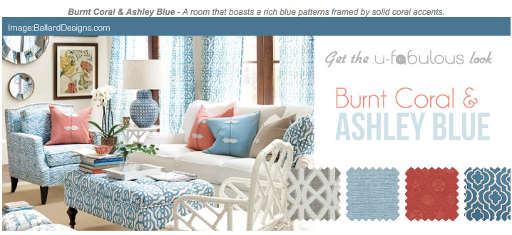 Ufabulous Design Room: Burnt Coral & Ashley Blue