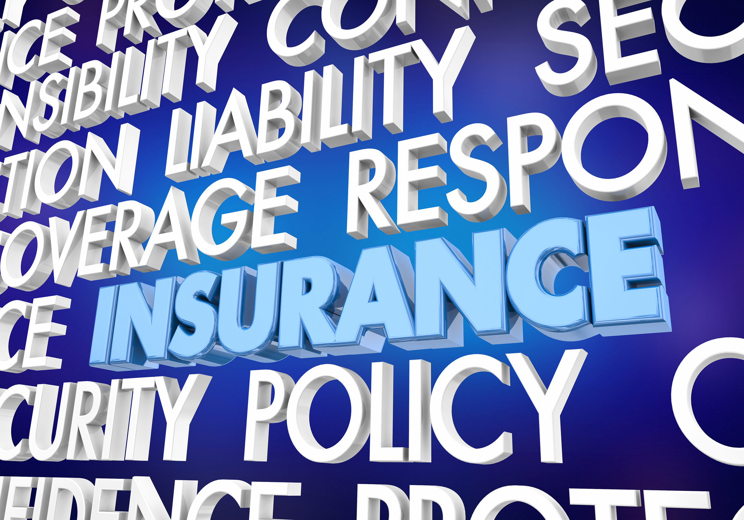 Insurance Coverage Policy Security Protection Word Collage 3d Illustration
