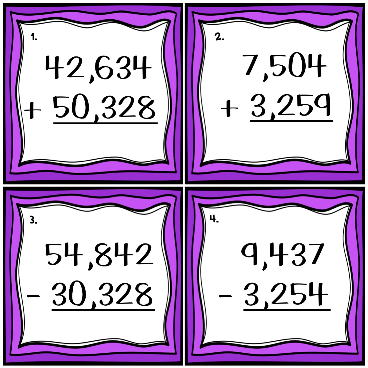 4-digit and 5-digit addition and subtraction