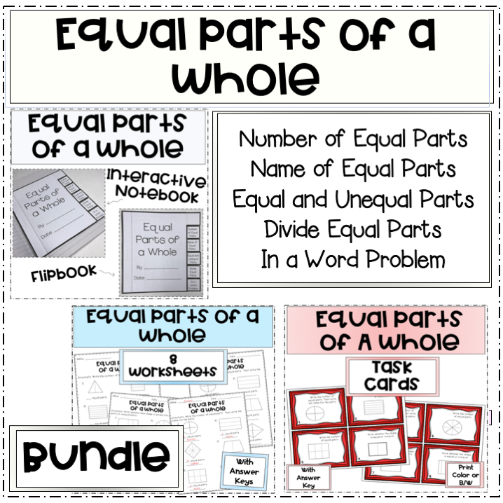 Picture of equal parts of a whole bundle that includes interactive flipbook, task cards, and 8 worksheets.
