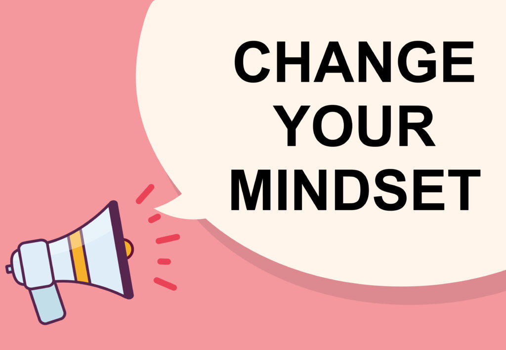 Change your mindset word with megaphone illustration graphic design