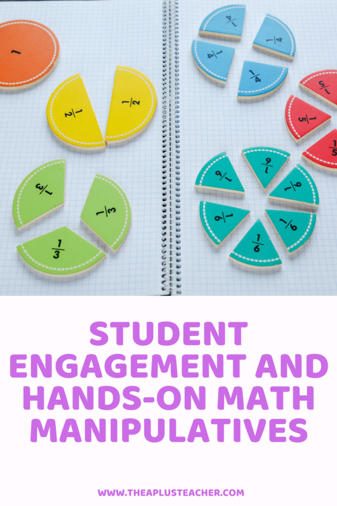 picture of fraction circles hands-on math manipulatives and title that says student engagement and hands-on math manipulatives