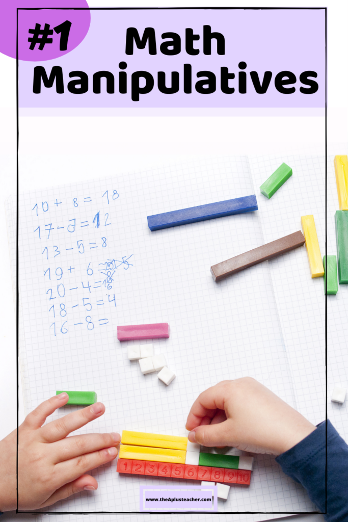 picture says #1 math manipulatives and picture of student using math blocks to add numbers