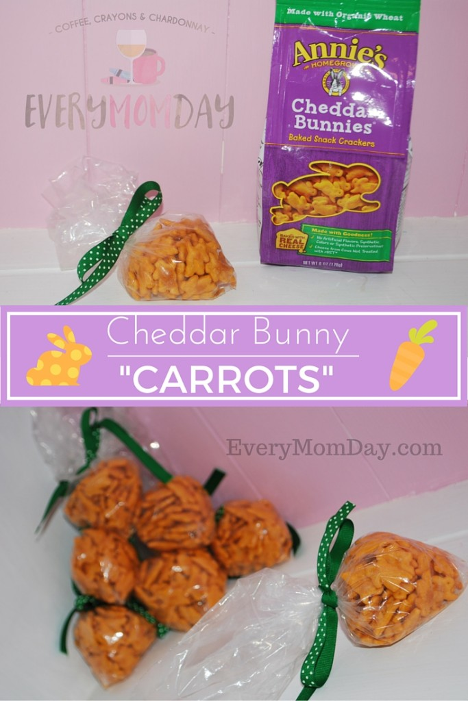 These adorable snacks are packaged to look like baby carrots and are full of cheddar bunny crackers! What a great idea for Easter baskets or just a simple spring snack!