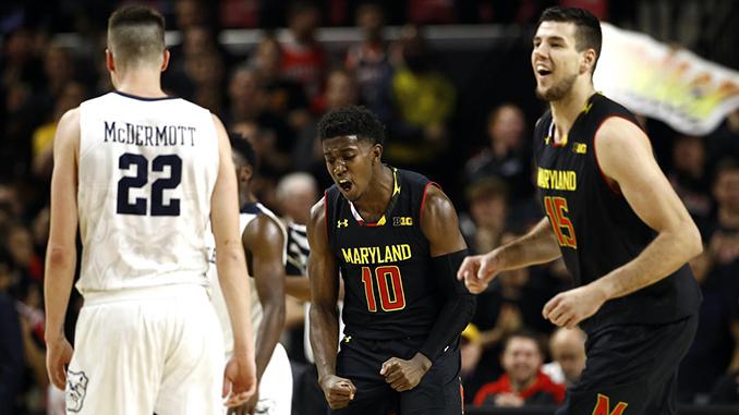 Morsell celebrating for Maryland