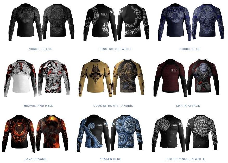 raven fightwear rash guard different designs
