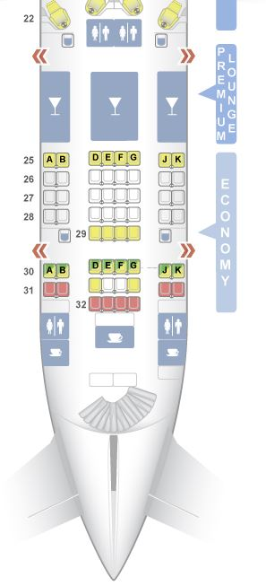 airplane seats - seat map example