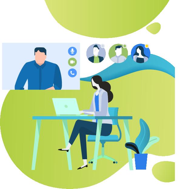 graphic of teacher online