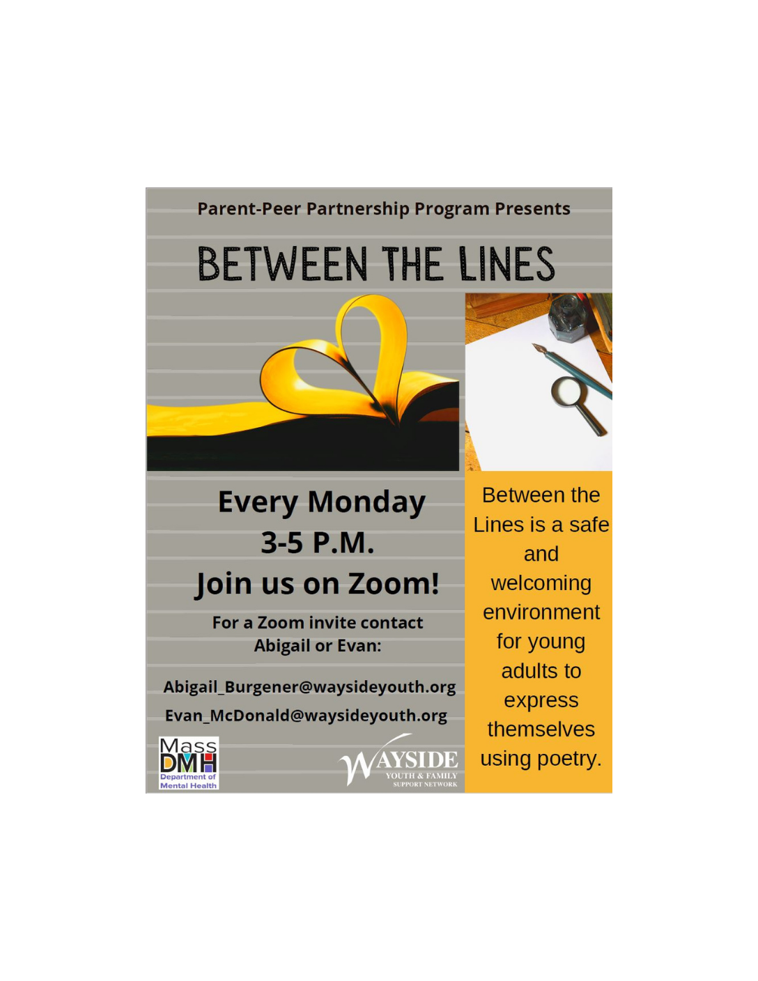 Between the Lines: Wayside Youth & Family Support Network (Virtual Young Adult Support Group 16-25) Fitchburg