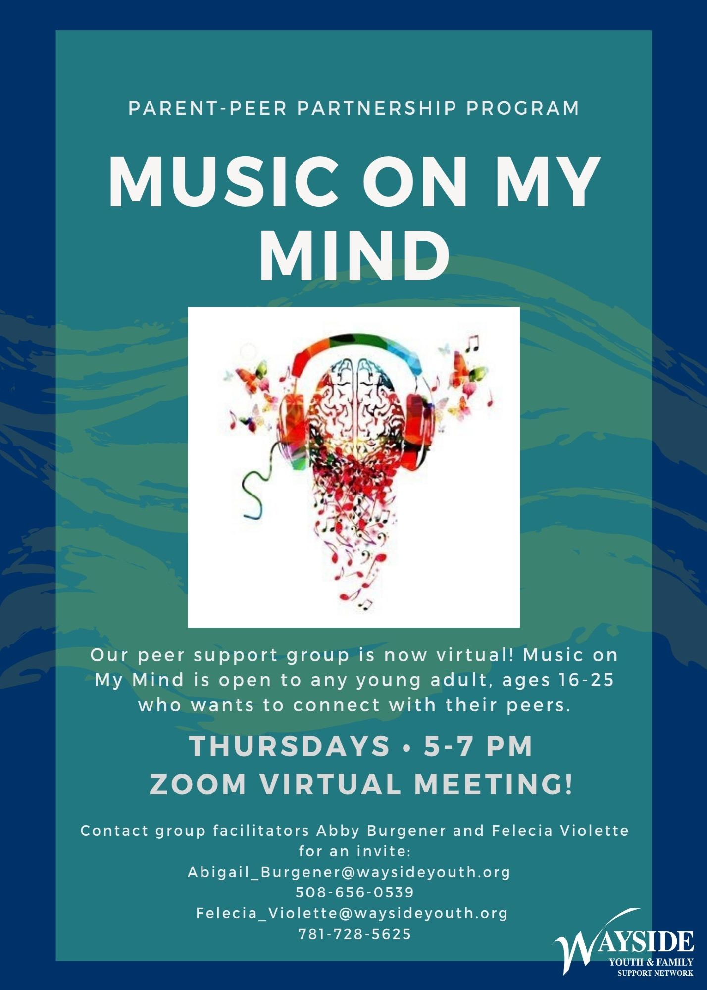 Music on My Mind: Wayside Youth & Family Support Network (Virtual Young Adult Support Group 16-25) Charlton