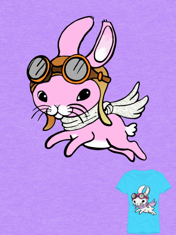 Bunny with wings and helmet