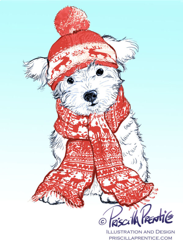 cute white puppy in hat and scarf