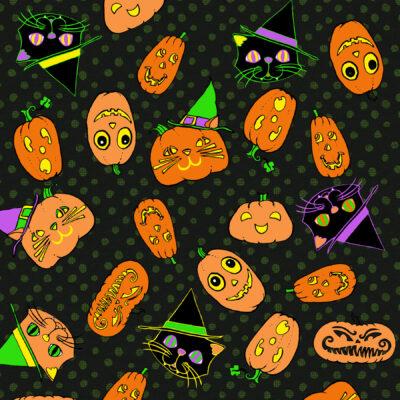 halloween pumpkin cat print