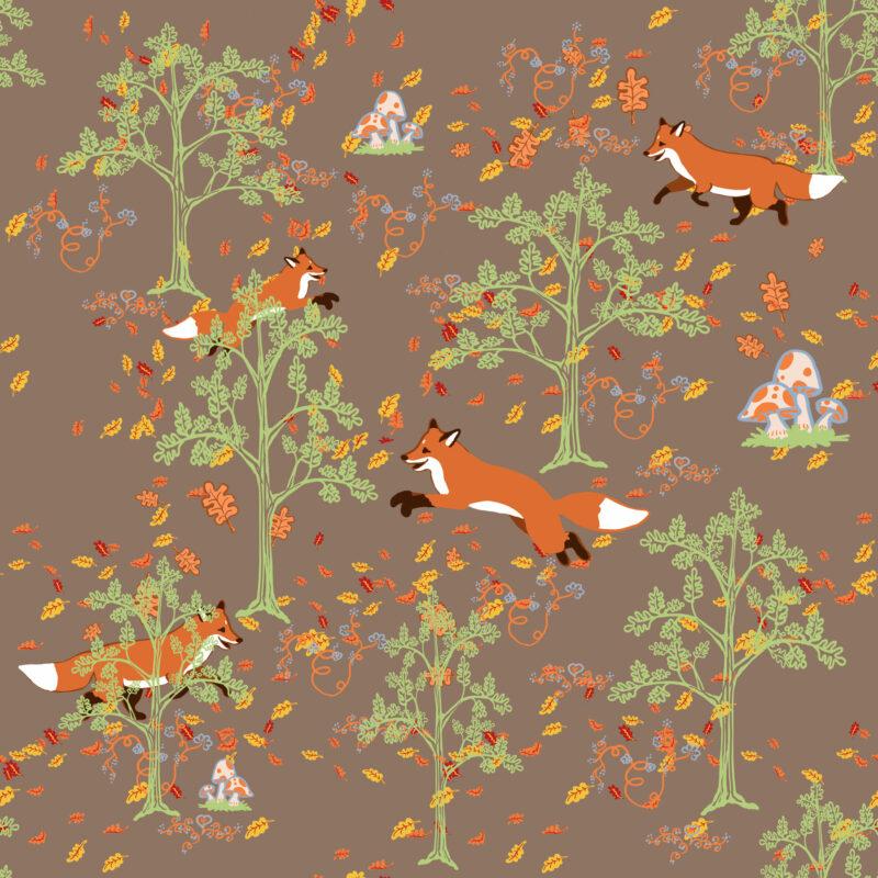 fox in woods print