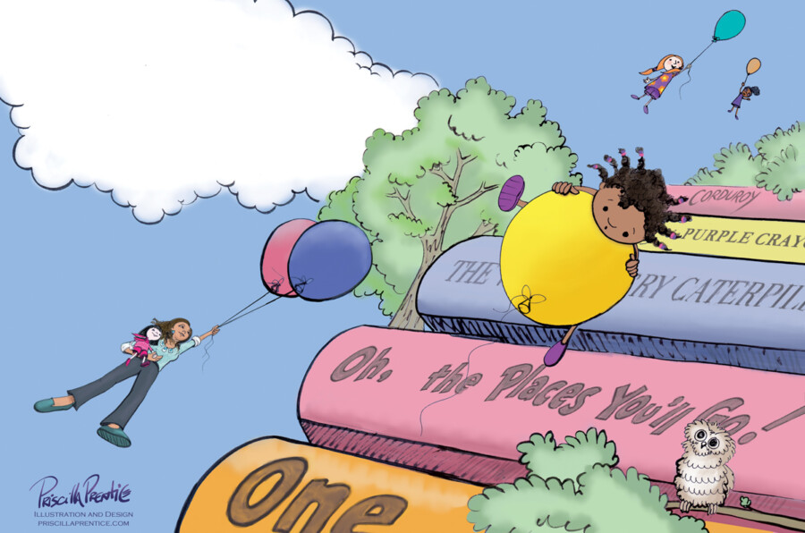 illustration of kids floating in air holding balloons for Teacher's Promise book
