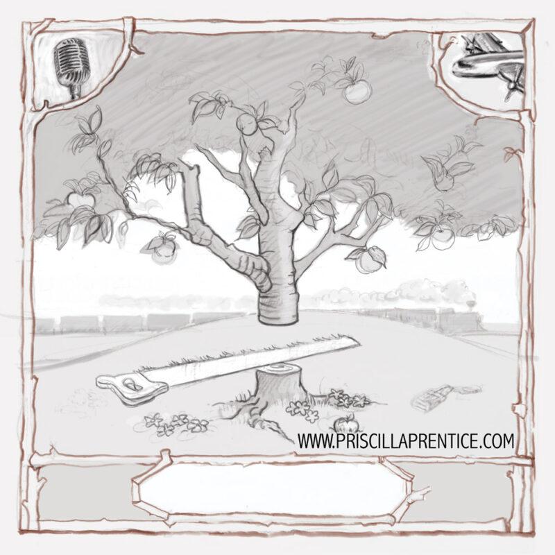 pencil sketch of tree