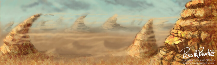 windy desert concept art