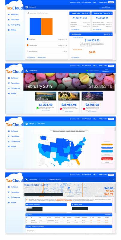 Screenshots of TaxCloud dashboard design