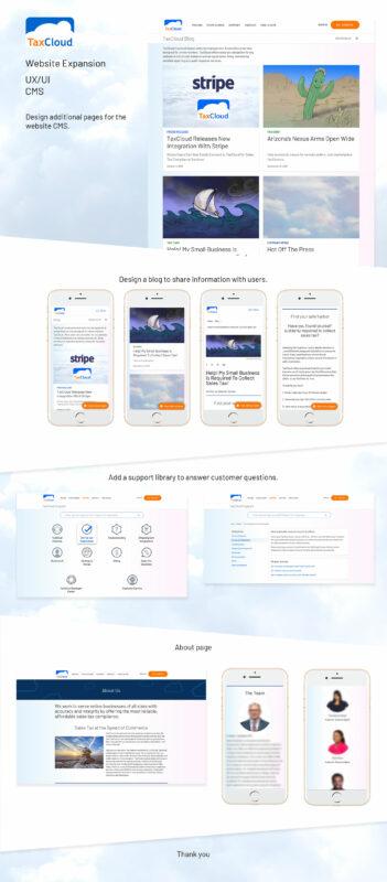 TaxCloud portfolio images of website design