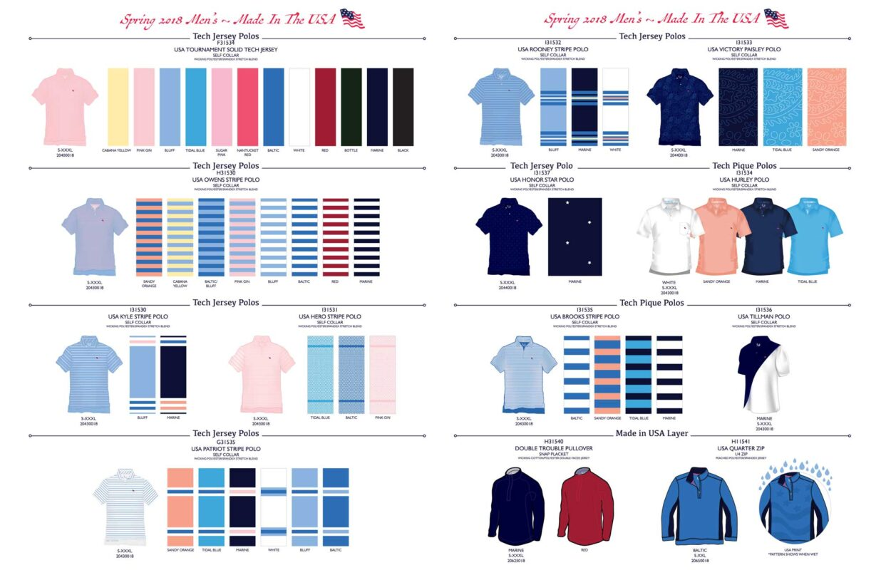 Linesheet layout for golf apparel