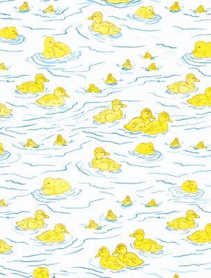 Ducklings on water print by Priscilla Prentice
