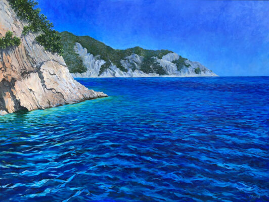 Painting of the ocean and cliffs in Greece by Priscilla Prentice