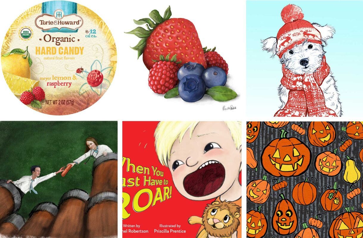 Selection of illustrations from artist, Priscilla Prentice