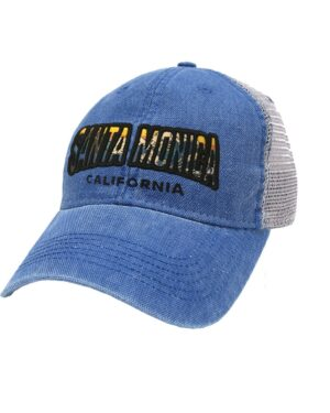 Sand 'n Surf Santa Monica California Old Fashion tracker Blue Hat