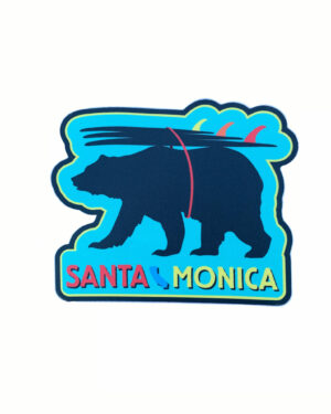 Sand 'n Surf Sticker - Santa Monica California Surfer Bear