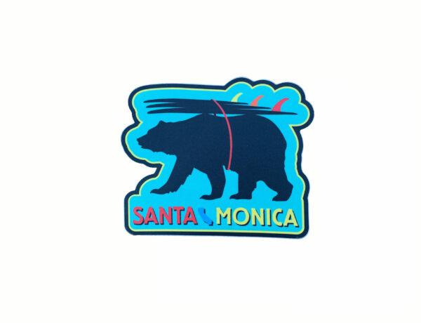 Sand 'n Surf Sticker - Santa Monica California Surfer Bear