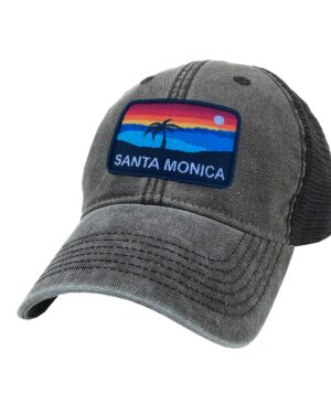 Sand 'n Surf Santa Monica California Old Fashioned Trucker Hat Black