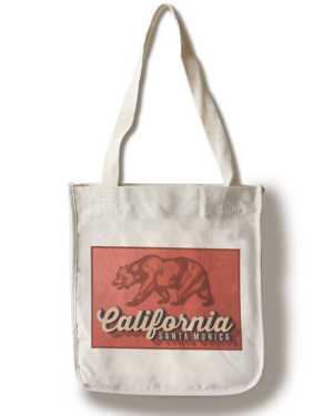 Sand 'n Surf Santa Monica, California - Bear Design 100 Cotton Tote Bag - Reusable