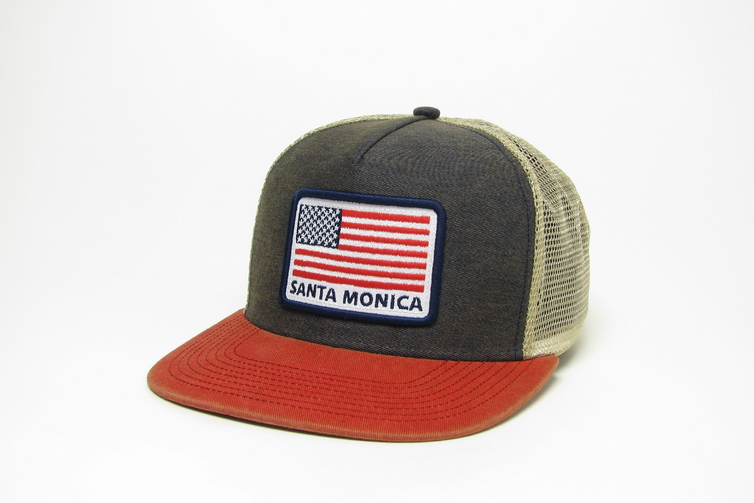 Navy-Scarlet Trucker HCFB with USA Flag Los Angeles White-Navy-Cardinal