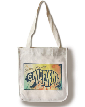 Santa Monica, California - Beach Palette 100% Cotton Reusable Travel Tote Bag