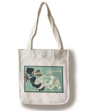 Santa Monica, California - State Bear on Blue 100% Cotton Tote Bag - Reusable