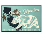 Santa Monica, California - State Bear on Blue 100% Cotton Tote Bag - Reusable