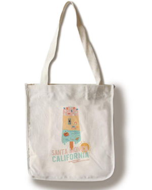 Santa Monica, CaliforniaSummer Popsicle Cotton Tote Bag - Reusable
