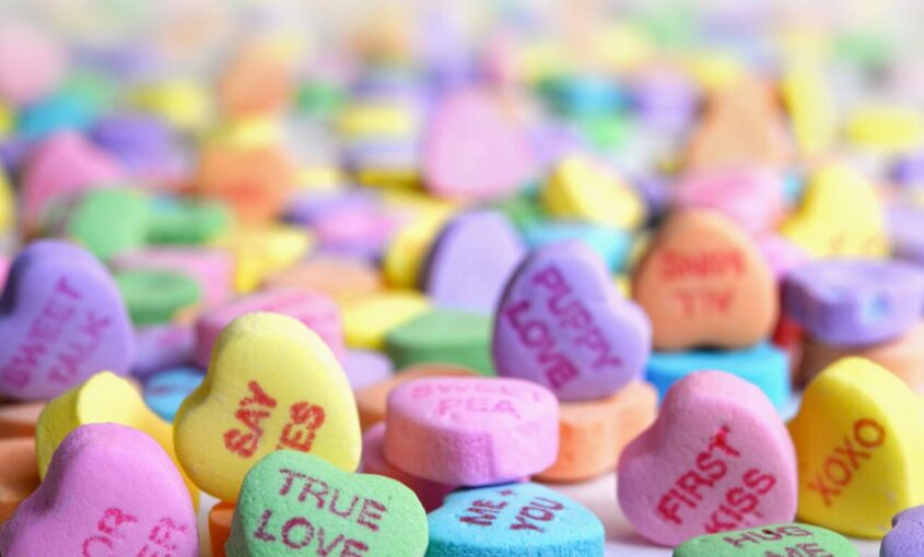 colorful candy hearts for valentine's day
