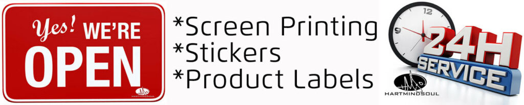 rush screen printing stickers