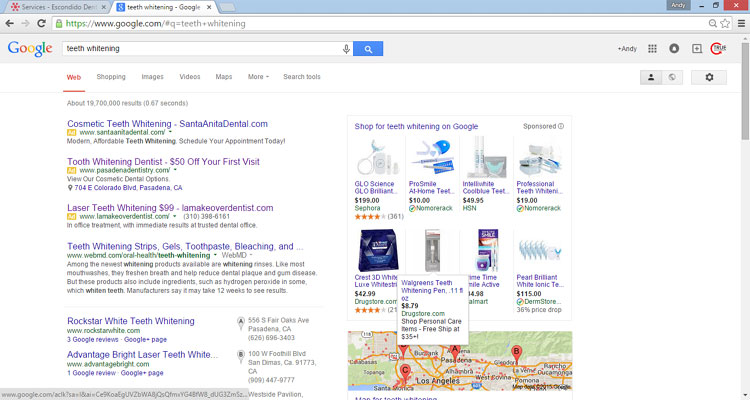 """Google Search As Seen For """"Teeth Whitening"""""""