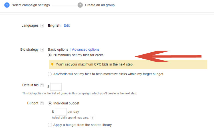 Google AdWords Settings Bid Strategy