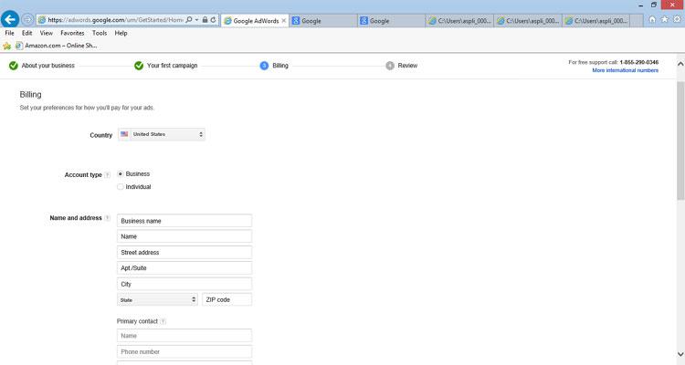 Google AdWords - Complete Billing Info