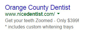 Bad Ad Example for Google Search Dentist