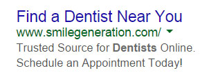 Good Example of AdWords Ad For Dentist