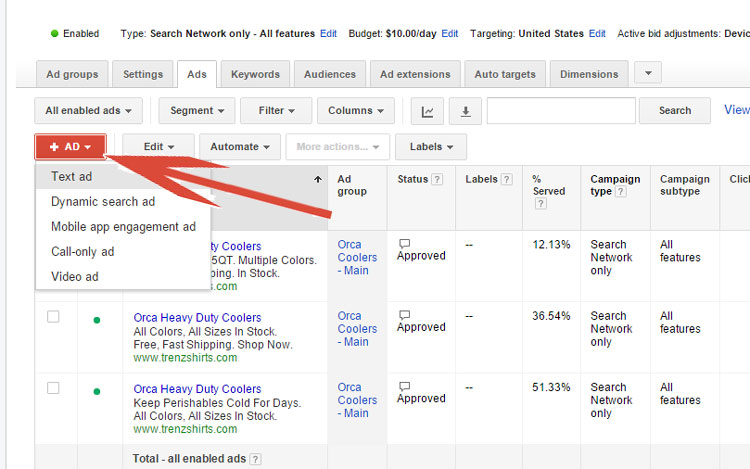 Selecting Ad Type In Google AdWords