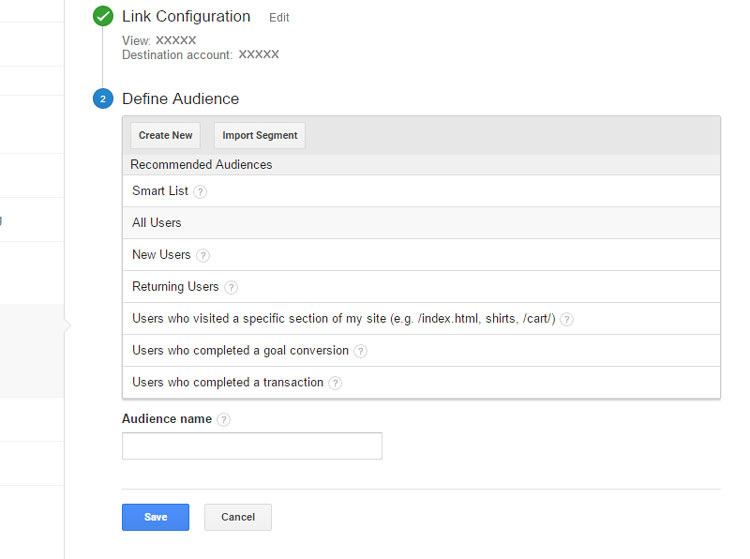 Defining an Audience in remarketing list