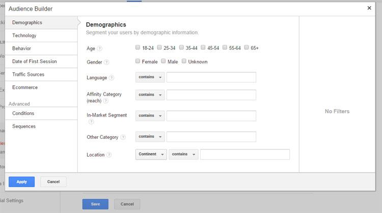Using Google's Audience Builder