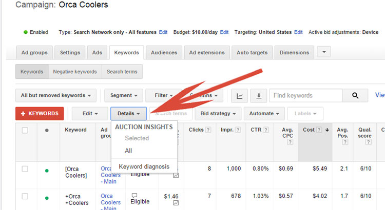 Accessing Keyword Details In Google AdWords